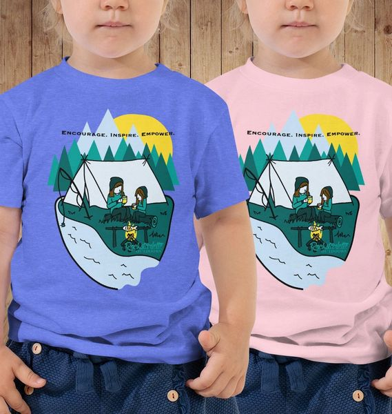 Youth Camping T shirt, Mother/Daughter Camping Logo, 2T-5T