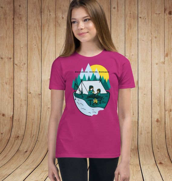 Youth Camping T shirt, Mother/Daughter Camping Logo, Ages 6-14, XS-XL
