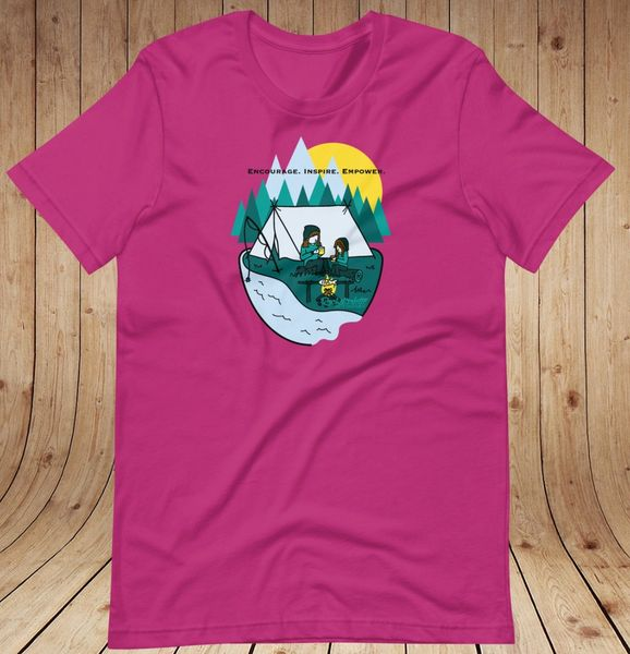 Mother/Daughter Camping Logo Loose Fit T Shirt, Women's XS-3XL (0-22), Berry, Light Pink or Heather Blue