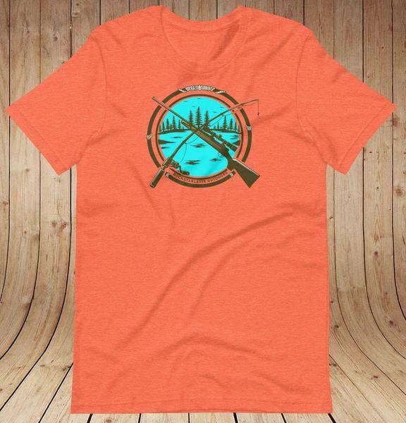 Hunting & Fishing Logo Loose Fit T Shirt, Women's XS-3XL (0-22), Heather Mint, Heather Orange