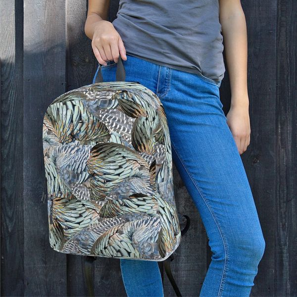 Turkey Feather Pattern Water Resistant Backpack, NEW!