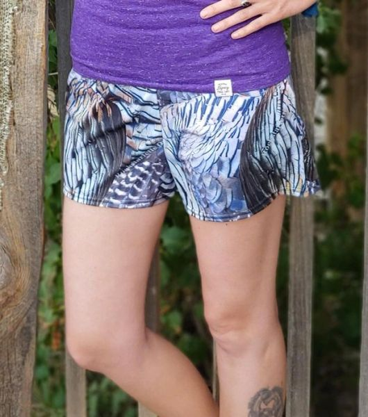 Turkey Feather Pattern Athletic Shorts, Relaxed Fit with Pockets, Water Repellant/Quick Dry
