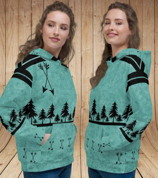 Teal Arrow, Ultra Thick, Fleece Lined, Pullover Hoodie