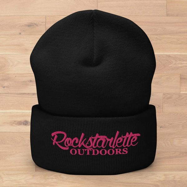 Rockstarlette Outdoors Logo Knit Beanie, Black and Hot Pink