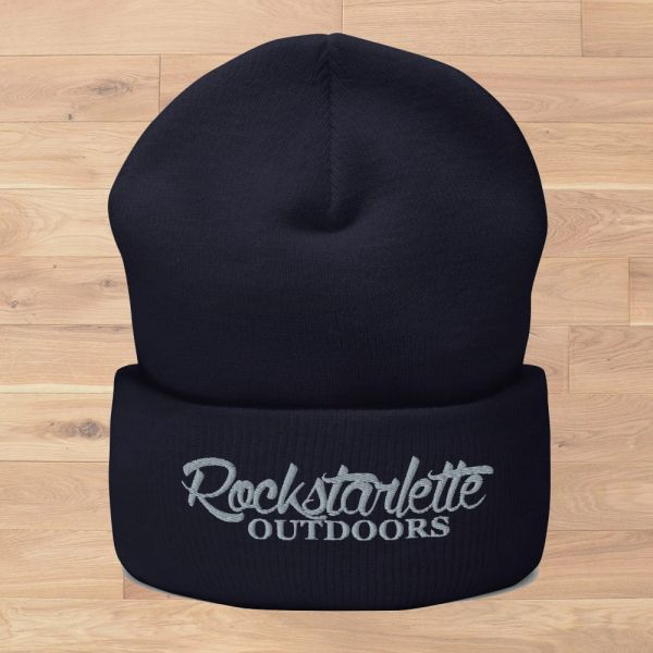 Rockstarlette Outdoors Logo Knit Beanie, Navy and Grey