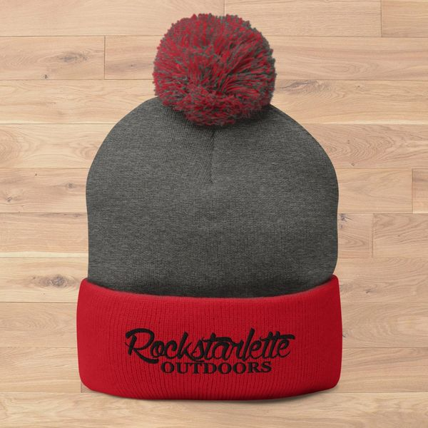 SALE 20% OFF, Rockstarlette Outdoors Logo Red and Grey Knit Hat with Pom Pom