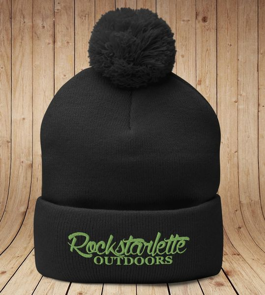 Rockstarlette Outdoors Knit Hat with Pom Pom, Black with Lime Green