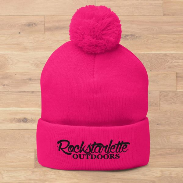 Rockstarlette Outdoors Logo Knit Cap with Pom Pom, Hot Pink