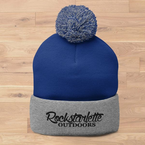 SALE 15% OFF, Rockstarlette Outdoors Logo Knit Cap with Pom Pom, Blue and Grey