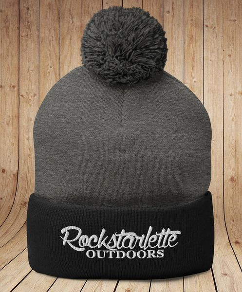 Grey and Black Rockstarlette Outdoors Logo Knit Cap with Pom Pom