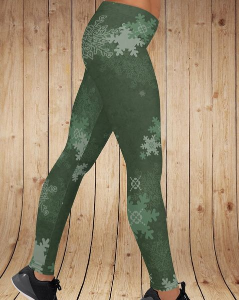 Winter Snowflake Pattern Leggings, Limited Edition (Option to add Yoga Waistband)