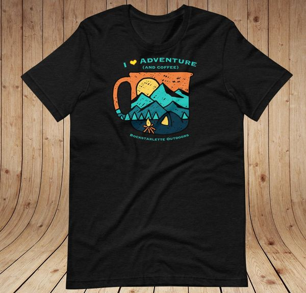 I Love Adventure (and Coffee) T shirt, XS-3XL, Relaxed Fit Crewneck, Heather Black