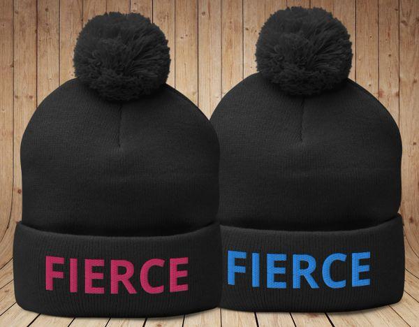 FIERCE Black Knit Hat with Pom Pom, Hot Pink or Blue Logo