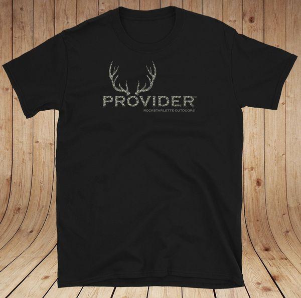 PROVIDER™ Camo Hunting Logo Black T shirt, Loose Fit Crewneck, S-3XL (0-20)