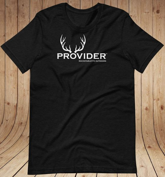 PROVIDER® Hunting Logo Loose Fit T shirt, XS-3XL, Heather Black