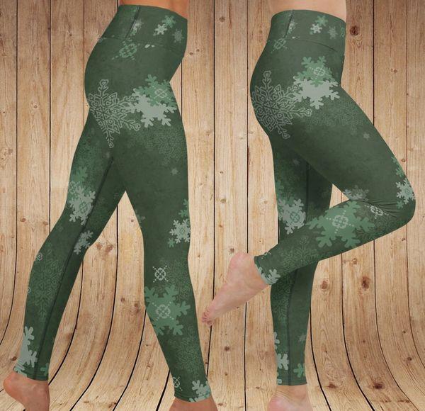 Winter Snowflake Pattern Leggings, YOGA Waistband, Limited Edition