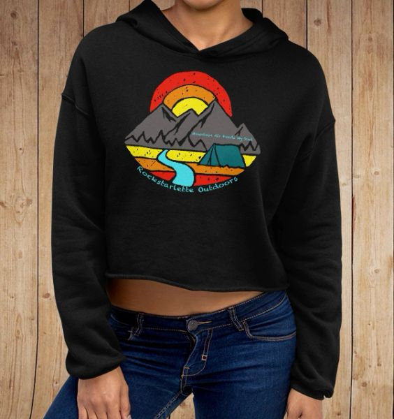 Mountain Air Feeds My Soul, CROPPED Fleece Lined Pullover Hoodie, Black, NEW!