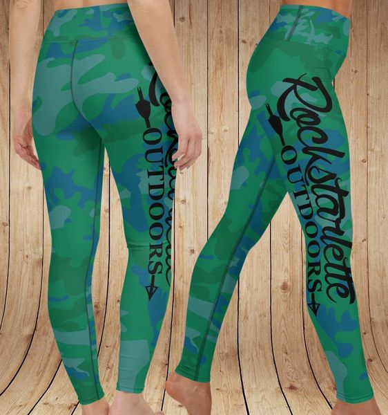 Camo Logo Yoga Leggings, Green/Blue, Wide Waistband, Size 0-24, Plus Sizes Available