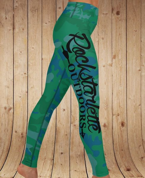 Camo Logo Yoga Leggings, Green/Blue, Wide Waistband
