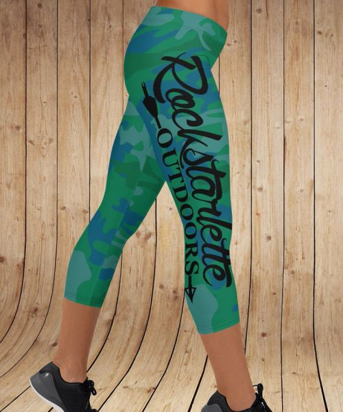 Camo Logo CAPRI Leggings, Green/Blue, NEW (Option to make full length)