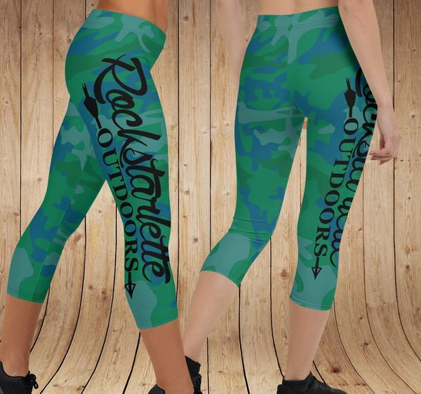 Camo Logo Leggings, CAPRI, Green/Blue, (Option to add wide Yoga Waistband)