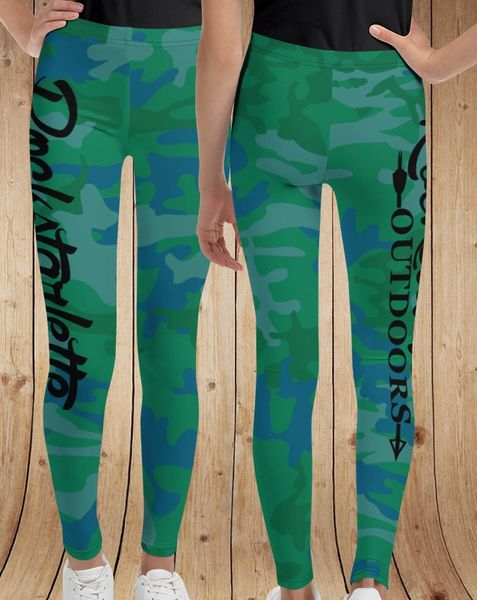 Youth Leggings, Blue/Green Camo, (2T-14) NEW!