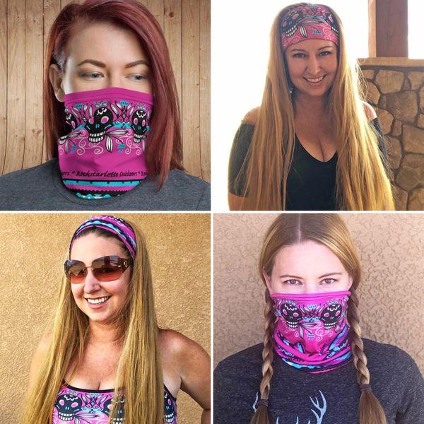 Face Shield/ Headband /Neck Gaiter, Hot Pink Tattoo Pattern, NEW