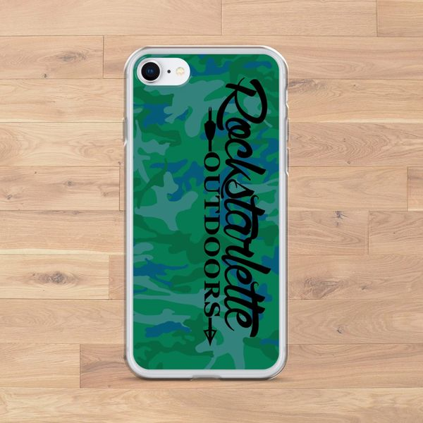 iPhone Case, Green/Blue Camo Rockstarlette Outdoors Logo (Choose Model) FREE Shipping