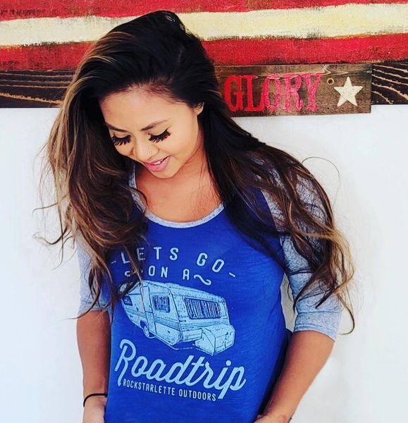 SALE 30% OFF, Lets Go On A Roadtrip, Blue, Raglan 3/4 Sleeve Rockstarlette Outdoors T Shirt
