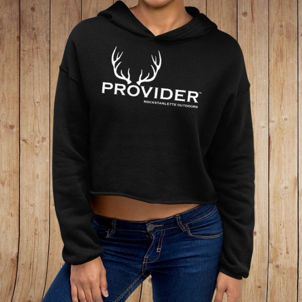 PROVIDER® Hunting Logo CROPPED Hoodie, Fleece Lined Pullover, Black