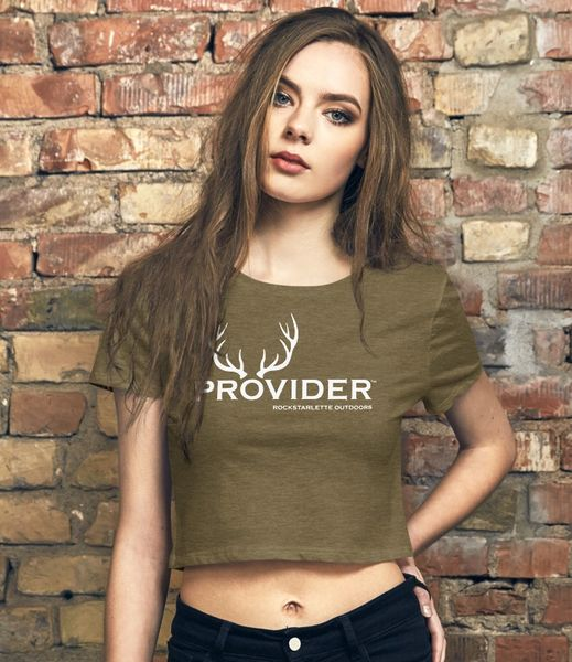 PROVIDER™ Hunting Logo, Crop Top T shirt, Olive