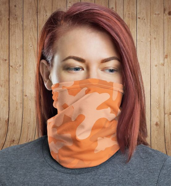 Face Shield/ Headband /Neck Gaiter, Orange Camo, NEW