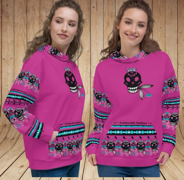 Ultra Plush, Tattoo Logo, Fleece Lined, Thick Pullover Hoodie, Hot Pink NEW!
