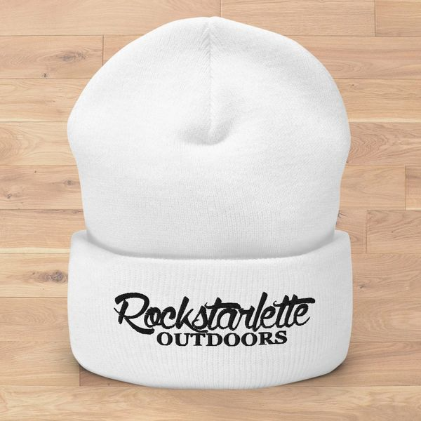Rockstarlette Outdoors Logo Knit Beanie, White (Option Pink or Black Stitching)
