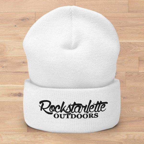 Rockstarlette Outdoors Logo Knit Beanie, White (Option Pink or Black Stitching)