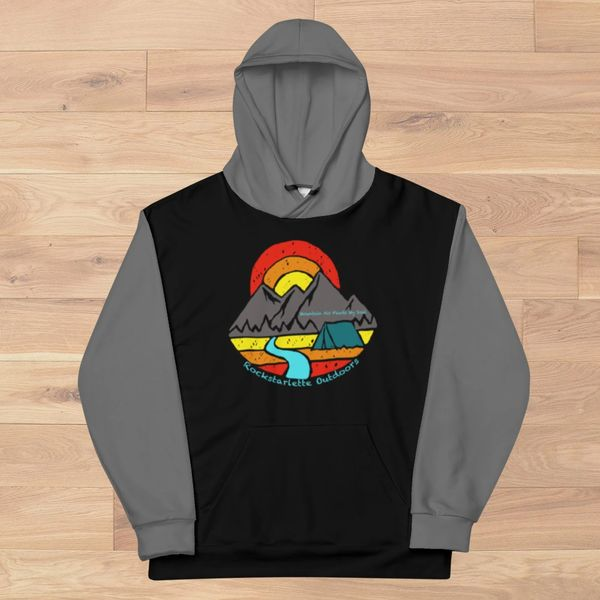 Ultra Plush, Mountain Air Feeds My Soul, Color Block Thick Fleece Lined Pullover Hoodie, NEW