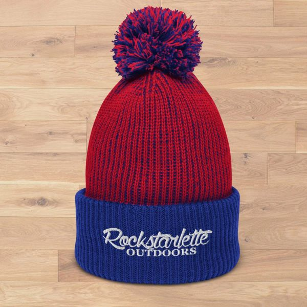 Rockstarlette Outdoors Logo Red White and Blue Thick Knit Hat with Pom Pom