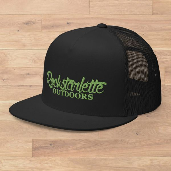 Flat Bill, Rockstarlette Outdoors Logo Mesh Back Hat, Hot Pink or Lime Green Stitching NEW