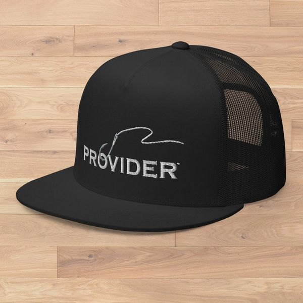 Flat Bill, PROVIDER® Fishing Logo Meshback Hat, All Black or Black and White