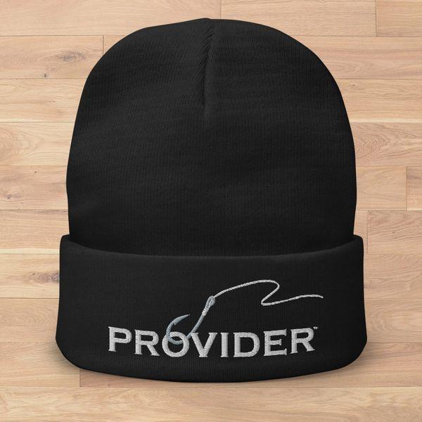 PROVIDER™ Fishing Logo Knit Beanie, Black