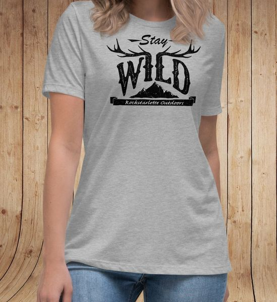 Stay Wild Relaxed Fit T shirt, Heather Ice Blue, Pink or Heather Grey, XS-3XL