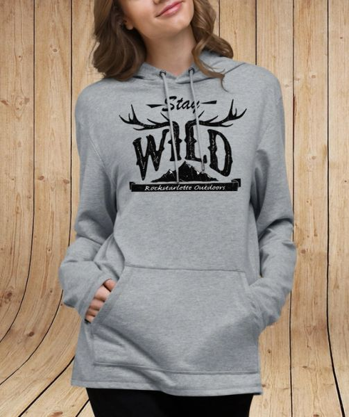 Stay Wild Lightweight Mid-Length Hoodie, Heather Grey