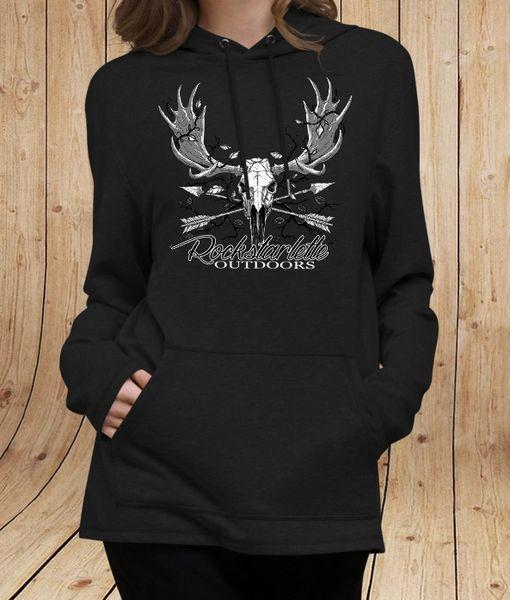 Rockstarlette Outdoors Lightweight Mid-Length Hoodie, Archery Moose Logo, Black