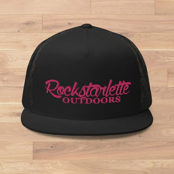 Flat Bill, Rockstarlette Outdoors Logo Mesh Back Hat, Lime Green or Hot Pink Stitching NEW