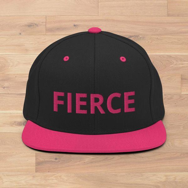 FIERCE Logo Flat Bill Mesh Back Hat, Hot Pink NEW
