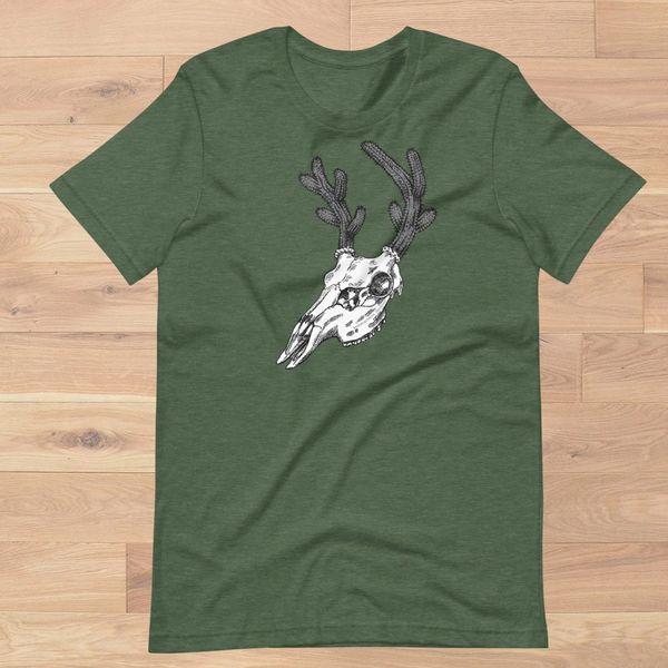 Cactus Deer Logo T Shirt, Women's S-3XL (0-22), Heather Moss