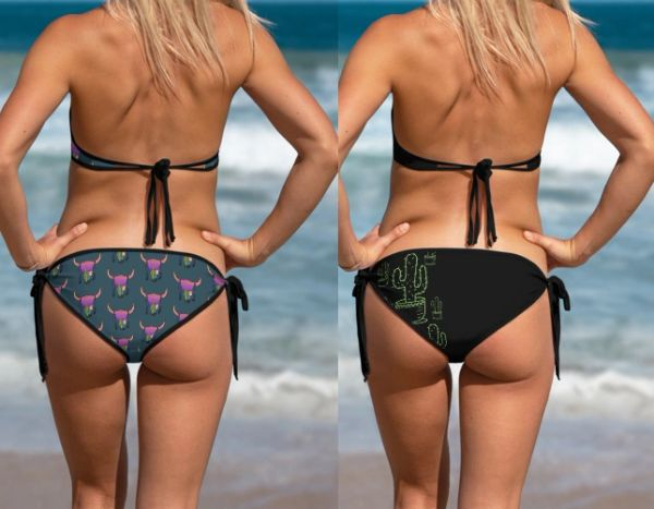 Separates: Reversible Bikini Bottoms, Southwestern, Cactus and Sunset Skull Patterns, Get 2 for the price of 1