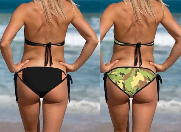 Separates: Reversible Bikini Bottoms, Camo Patterns