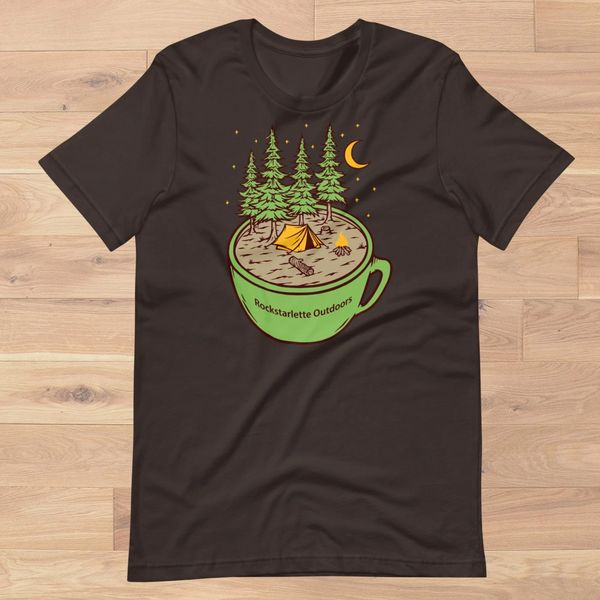 Cup of Camping Logo T Shirt, Women's S-2XL (0-18), Sunshine, Olive, Dark Brown