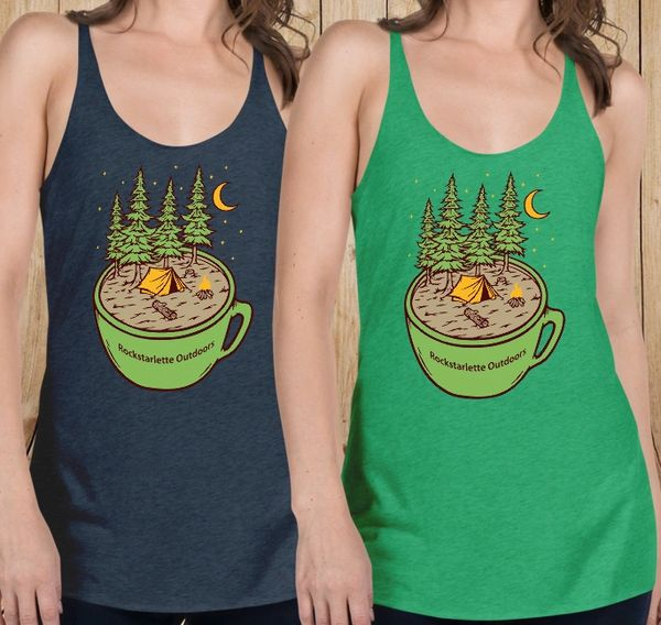 Cup of Camping Racerback Tank Top, Vintage Navy or Forest Green
